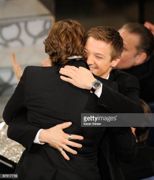 Screenwriter Mark Boal winner of Best Original Screenplay award for 'The Hurt Locker' with actor Jeremy Renner onstage during the 82nd Annual Academy...