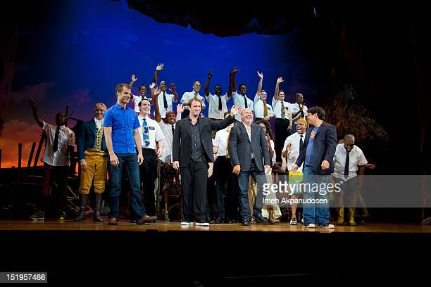 Screenwriter Matt Stone director Trey Parker director Casey Nicholaw and composer Robert Lopez attend the premiere of 'The Book Of Mormon' at the...