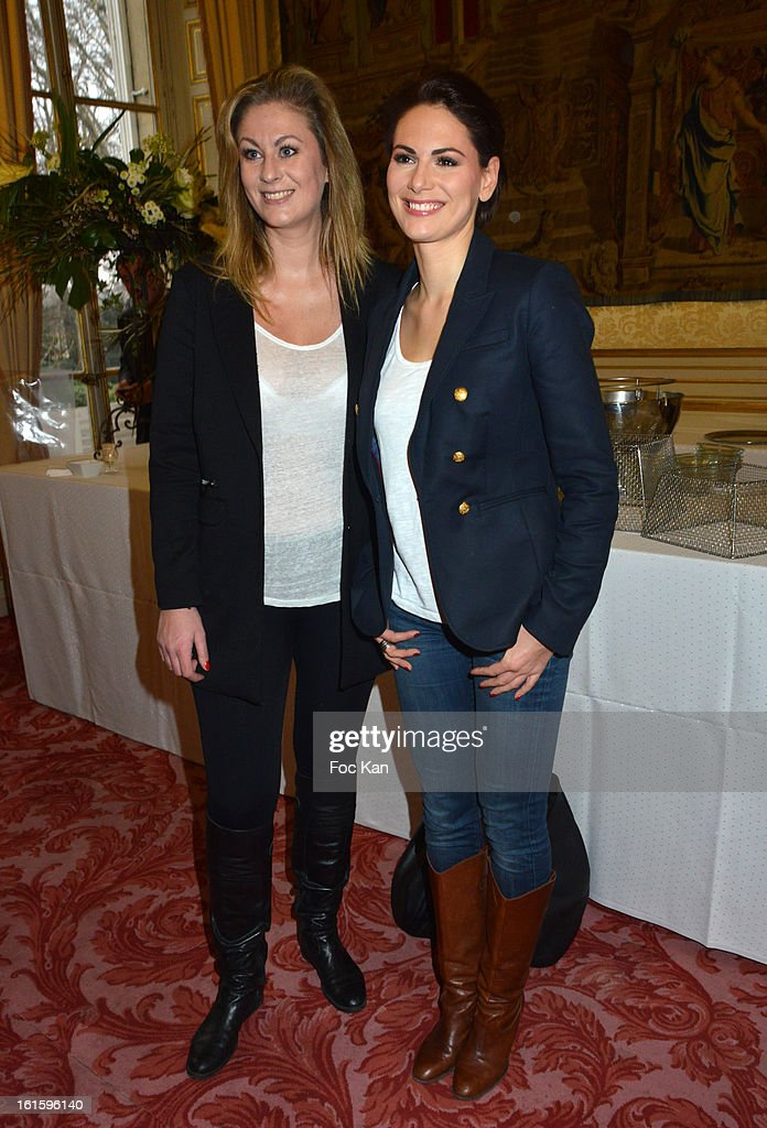Screenwriter Maud Garnier and Miss France 2004 Laetitia Bleger attend the Rallye Aicha des Gazelles du Maroc' 2013 - Press Conference at Palais du Luxembourg on February 12, 2013 in Paris, France.