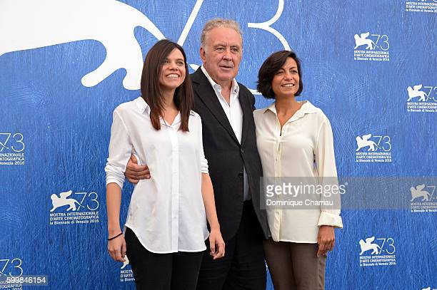 Screenwriter Micaela Farrocco director and screenwriter Michele Santoro and screenwriter Maddalena Oliva attends the premiere of 'Robinu' during the...