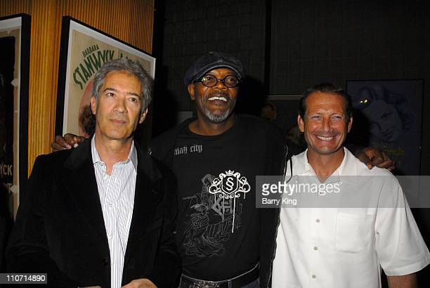 20070822 CA Screenwriter Michael Bortman actor Samuel L Jackson and Yari Film's Dennis Brown attend the 'Resurrecting the Champ' after party held at...