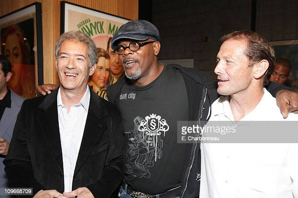 Screenwriter Michael Bortman Samuel L Jackson and Yari Film's Dennis Brown at the Los Angeles Premiere Party of 'Resurrecting the Champ' at the...