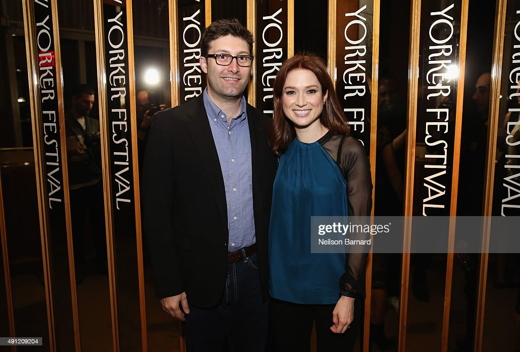 """Screenwriter Michael Koman and actress Ellie Kemper attends the 2015 New Yorker Festival """"Wrap Party"""" hosted by David Remnick at the top of the..."""