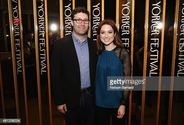 "Screenwriter Michael Koman and actress Ellie Kemper attends the 2015 New Yorker Festival ""Wrap Party"" hosted by David Remnick at the top of the..."
