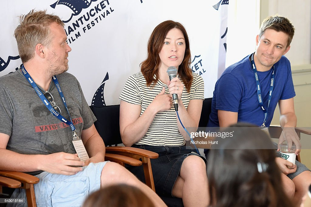 Screenwriter Nicholas Schutt, Screenwriter/Director Julia Hart, and Screenwriter/Director Christopher Kelly speak during Morning Coffee at the 2016 Nantucket Film Festival Day 4 on June 25, 2016 in Nantucket, Massachusetts.