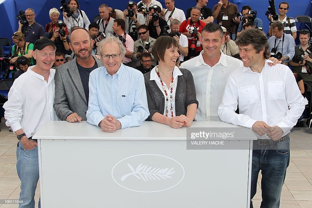 Screenwriter Paul Laverty, British actor Mark Womack, British director Ken Loach, producer Rebecca O'Brien, British actor Trevor Williams and actor John Bishop pose during the photocall 'Route Irish' presented in competition at the 63rd Cannes Film Festival on May 21, 2010 in Cannes.