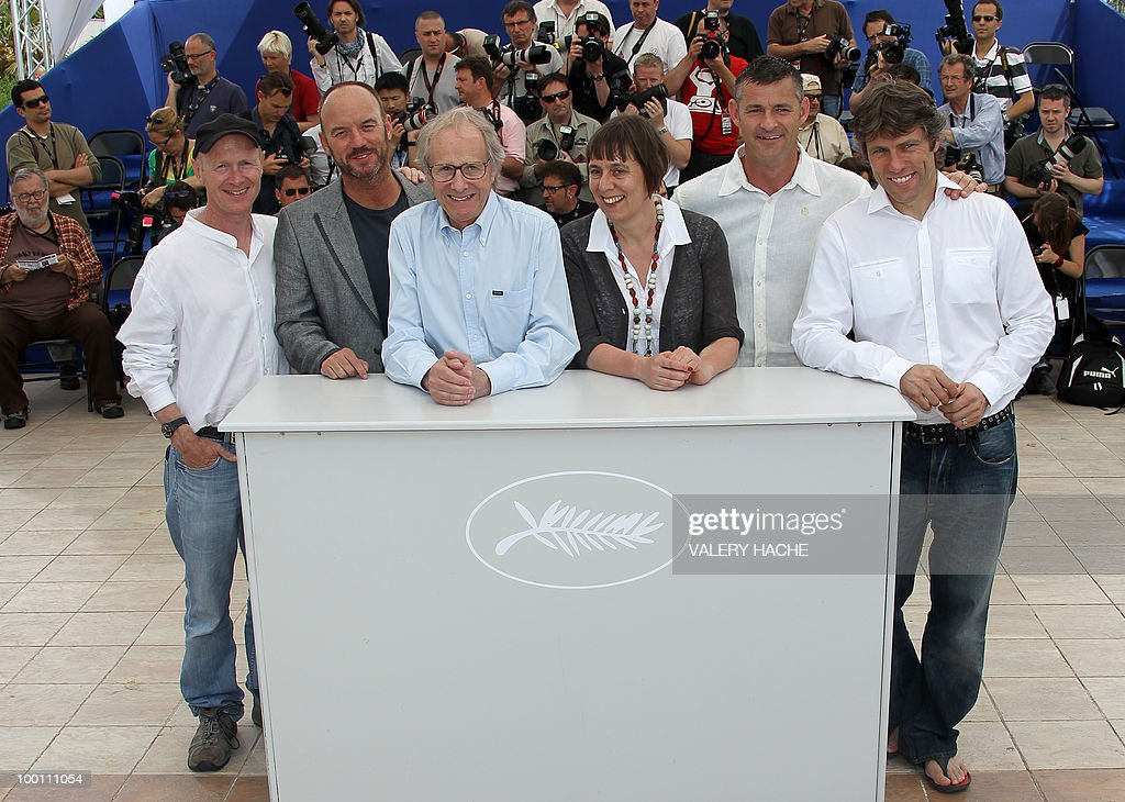 Screenwriter Paul Laverty, British actor Mark Womack, British director Ken Loach, producer Rebecca O'Brien, British actor Trevor Williams and actor <a gi-track='captionPersonalityLinkClicked' href=/galleries/search?phrase=John+Bishop+-+Actor&family=editorial&specificpeople=7360807 ng-click='$event.stopPropagation()'>John Bishop</a> pose during the photocall 'Route Irish' presented in competition at the 63rd Cannes Film Festival on May 21, 2010 in Cannes. AFP PHOTO / VALERY HACHE