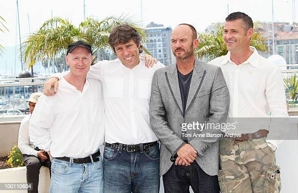 Screenwriter Paul Laverty John Bishop Mark Womack and Jack Fortune attend the 'Route Irish' Photo Call held at the Palais des Festivals during the...
