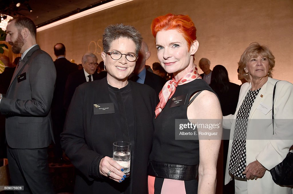 Screenwriter <a gi-track='captionPersonalityLinkClicked' href=/galleries/search?phrase=Phyllis+Nagy&family=editorial&specificpeople=817628 ng-click='$event.stopPropagation()'>Phyllis Nagy</a> (L) and costume designer <a gi-track='captionPersonalityLinkClicked' href=/galleries/search?phrase=Sandy+Powell&family=editorial&specificpeople=233793 ng-click='$event.stopPropagation()'>Sandy Powell</a> attend the 88th Annual Academy Awards nominee luncheon on February 8, 2016 in Beverly Hills, California.