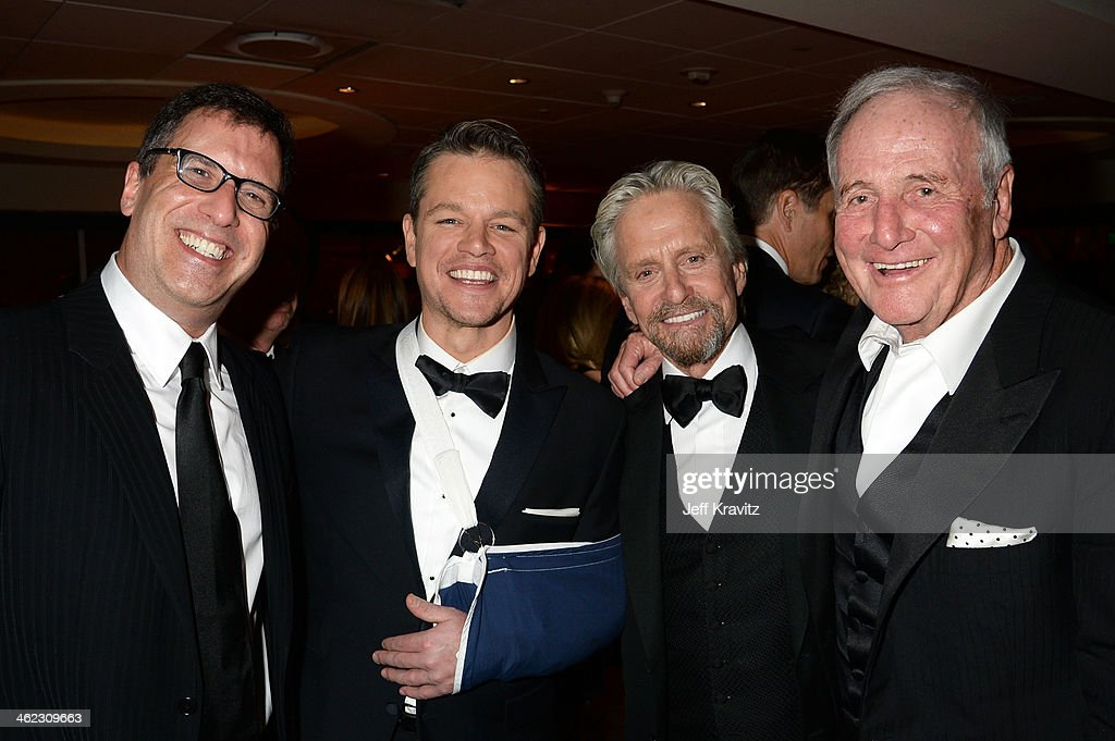Screenwriter Richard LaGravenese, actor Matt Damon, actor Michael Douglass, and producer Jerry Weintraub attend HBO's Official Golden Globe Awards After Party at The Beverly Hilton Hotel on January 12, 2014 in Beverly Hills, California.