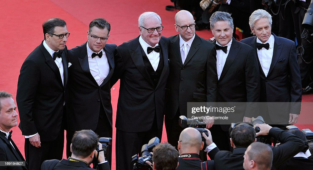 Screenwriter Richard LaGravenese, actor Matt Damon, producer Jerry Weintraub, director Steven Soderbergh, producer Greg Jacobs and actor Michael Douglas attend the 'Behind The Candelabra' premiere during The 66th Annual Cannes Film Festival at Theatre Lumiere on May 21, 2013 in Cannes, France.