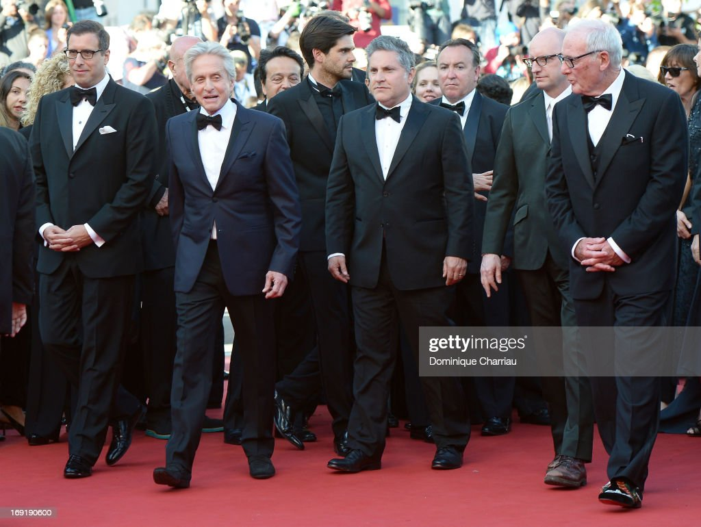 Screenwriter Richard LaGravenese, actor Michael Douglas, writer Greg Jacobs, director Steven Soderbergh and producer Jerry Weintraub attend the Premiere of 'Behind the Candelabra' during the 66th Annual Cannes Film Festival at Palais des Festivals on May 21, 2013 in Cannes, France.