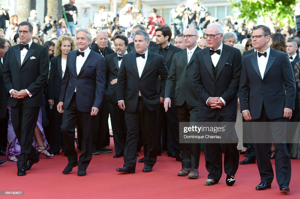 Screenwriter Richard LaGravenese, actor Michael Douglas, writer Greg Jacobs, director Steven Soderbergh, producer Jerry Weintraub and actor Matt Damon attend the Premiere of 'Behind the Candelabra' during the 66th Annual Cannes Film Festival at Palais des Festivals on May 21, 2013 in Cannes, France.