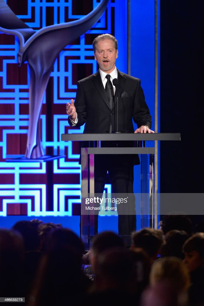 Screenwriter Robert Eisele introduces the Morgan Cox Award at the 2014 Writers Guild Award Ceremony at JW Marriott Los Angeles at LA LIVE on February...