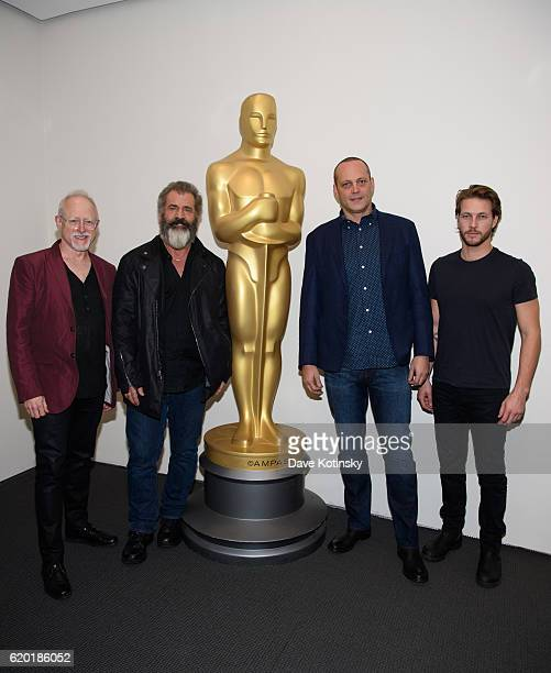 Screenwriter Robert Schenkkan Producer Mel Gibson Vince Vaughn and Actor Luke Bracey attends The Academy of Motion Picture Arts and Sciences Official...