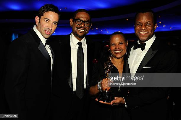 Screenwriter Sheldon Turner actor Forest Whitaker author Ramona Lofton and screenwriter Geoffrey Fletcher winner of Best Adapted Screenplay award for...