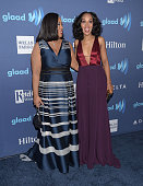 Screenwriter Shonda Rhimes and actress Kerry Washington attend the 26th Annual GLAAD Media Awards at The Beverly Hilton Hotel on March 21 2015 in...
