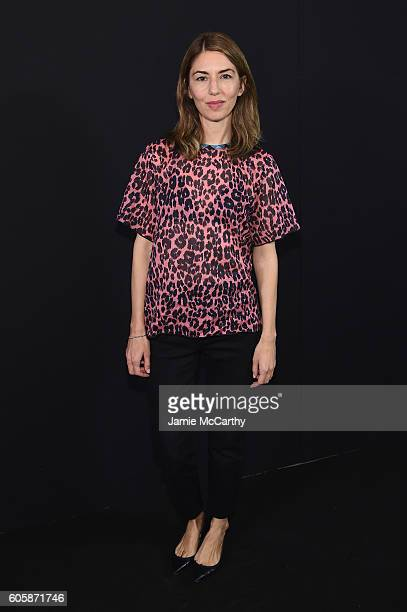 Screenwriter Sofia Coppola poses backstage at the Marc Jacobs Spring 2017 fashion show at the Hammerstein Ballroom on September 15 2016 in New York...