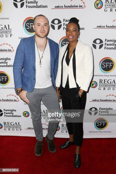 Screenwriter/actor Emmett Hughes and director Aisha Tyler attend the 'Axis' screening during the 2017 Sarasota Film Festival on April 7 2017 in...