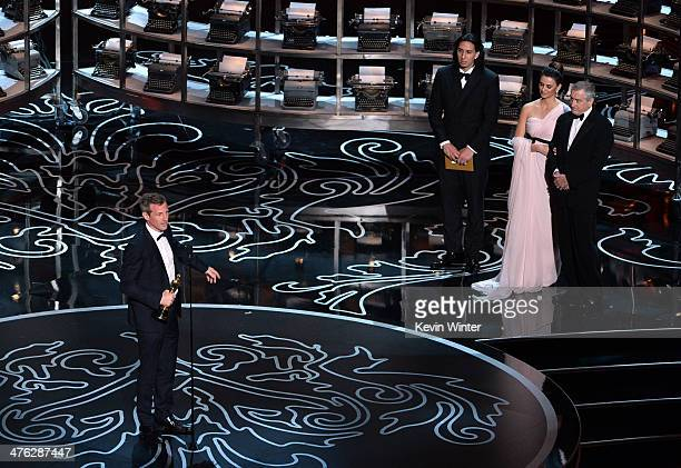 Screenwriter/director Spike Jonze accepts the Best Screenplay Written Directly for the Screen award for 'Her' from actors Penelope Cruz and Robert De...