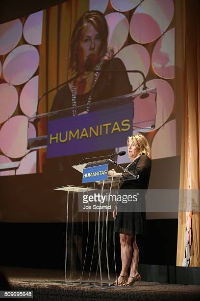 Screenwriter/Producer Jenny Bicks speaks onstage during the 41st Humanitas Prize Awards Ceremony at Directors Guild Of America on February 11 2016 in...