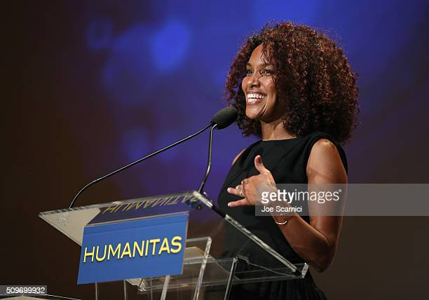 Screenwriter/Producer Mara Brock Akil speaks onstage during the 41st Humanitas Prize Awards Ceremony at Directors Guild Of America on February 11...