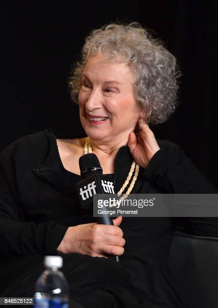 Screenwriter/producer Margaret Atwood speaks onstage at 'Alias Grace' Press Conference during the 2017 Toronto International Film Festival at TIFF...
