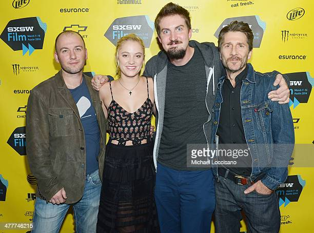 Screenwriter/producer Simon Barrett actress Maika Monroe director Adam Wingard and actor Leland Orser attend 'The Guest' premiere at the 2014 SXSW...