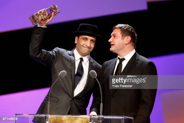 Screenwriters Abdel raouf Dafri and Thomas Bidegain onstage during the 35th Cesar Film Awards held at Theatre du Chatelet on February 27 2010 in...
