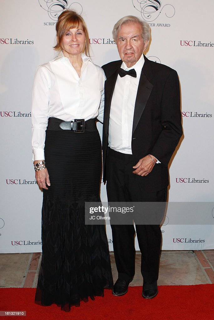Screenwriters Diana Ossana (L), and Larry McMurtry attend the 25th Annual Scripter Awards at Edward L. Doheny Jr. Memorial Library at University of Southern California on February 9, 2013 in Los Angeles, California.