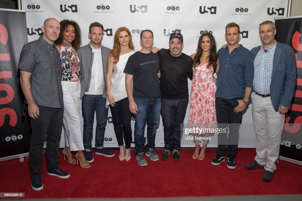 SUITS -- Script Reading Presented by USA Network -- Pictured: (l-r) Gene Klein, Gina Torres, Patrick J. Adams, Sarah Rafferty, Aaron Korsh, Rick Hoffman, Meghan Markle, Gabriel Macht, David Bartis --