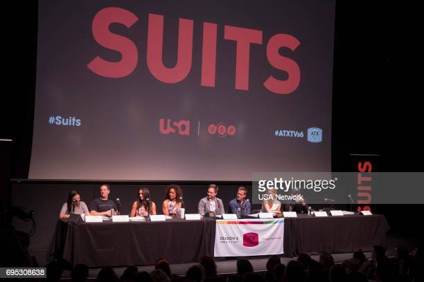 SUITS Script Reading Presented by USA Network Pictured Robyn Ross of Entertainment Weekly Aaron Korsh Meghan Markle Gina Torres Patrick J Adams...