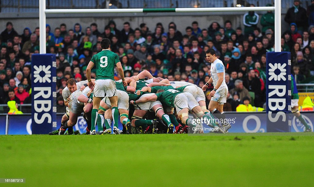 Scrum action during the RBS Six Nations match between Ireland and England at Aviva Stadium on February 10, 2013 in Dublin, Ireland.