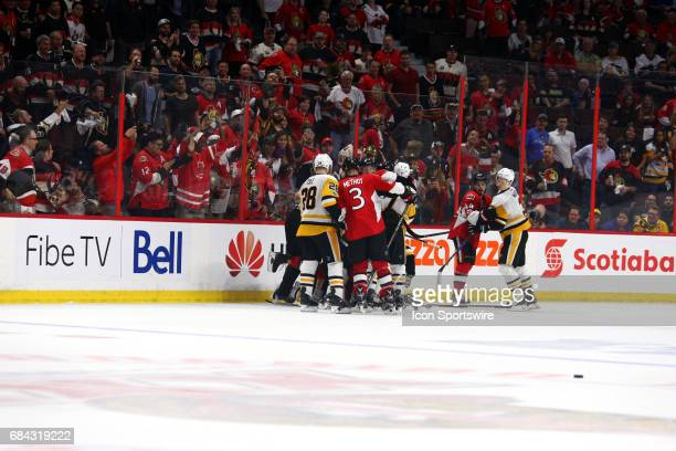 A scrum breaks out as the clock ticks down in the third period of Game 3 of the Eastern Conference Finals of the 2017 NHL Stanley Cup Playoffs...