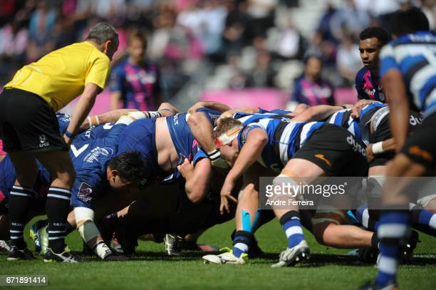 Scrum during the European Challenge Cup semi final between Stade Francais and Bath on April 23 2017 in Paris France