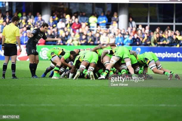 A scrum during the European Rugby Champions Cup match between Clermont Auvergne and Northampton Saints on October 21 2017 in Clermont France