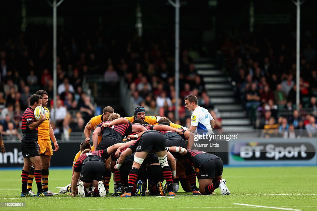 A scrum is contested during the Aviva Premiership match between Saracens and London Wasps at Allianz Park on October 5, 2013 in Barnet, England.