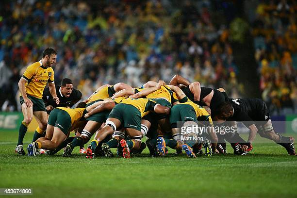 A scrum packs down during The Rugby Championship match between the Australian Wallabies and the New Zealand All Blacks at ANZ Stadium on August 16...