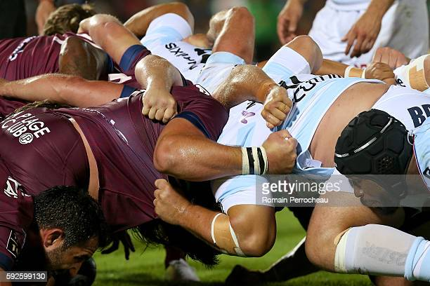 A scrum packs during the French Top 14 union match between Union Bordeaux Begles and Racing 92 at Stade ChabanDelmas on August 20 2016 in Bordeaux...