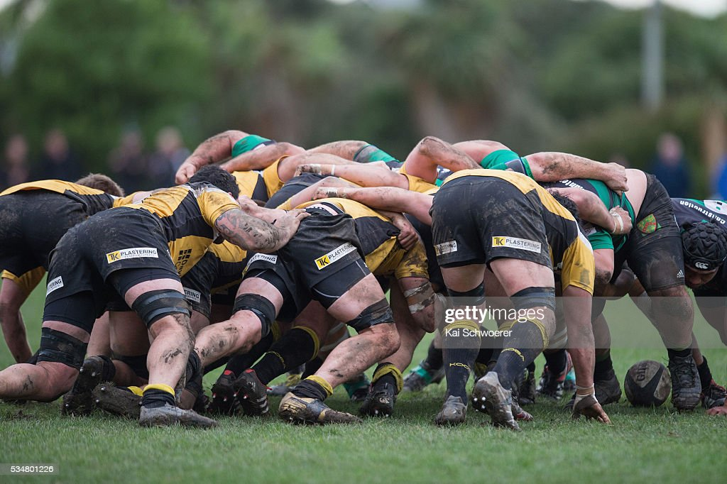A scrum packs during the match between New Brighton RFC and Linwood RC on May 28, 2016 in Christchurch, New Zealand.