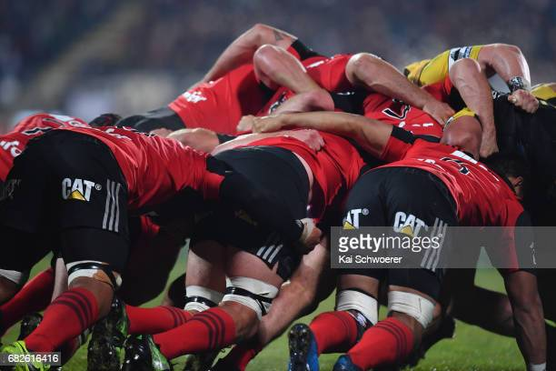 A scrum packs during the round 12 Super Rugby match between the Crusaders and the Hurricanes at AMI Stadium on May 13 2017 in Christchurch New Zealand
