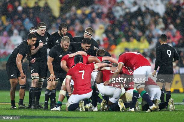 A scrum packs well during the International Test match between the New Zealand All Blacks and the British Irish Lions at Westpac Stadium on July 1...