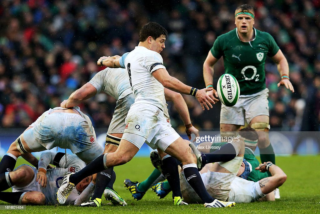 Scrumhalf Ben Youngs of England clears the ball downfield during the RBS Six Nations match between Ireland and England at Aviva Stadium on February 10, 2013 in Dublin, Ireland.