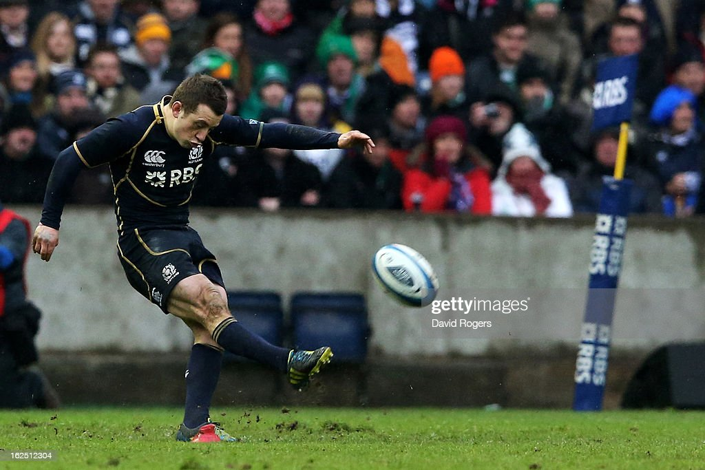 Scrumhalf Greig Laidlaw of Scotland kicks the matchwinning penalty during the RBS Six Nations match between Scotland and Ireland at Murrayfield Stadium on February 24, 2013 in Edinburgh, Scotland.