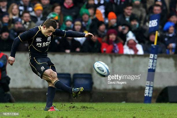 Scrumhalf Greig Laidlaw of Scotland kicks the matchwinning penalty during the RBS Six Nations match between Scotland and Ireland at Murrayfield...