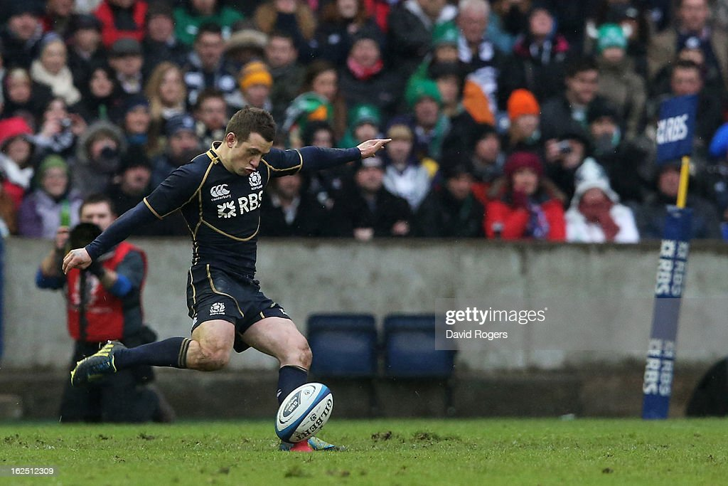 Scrumhalf <a gi-track='captionPersonalityLinkClicked' href=/galleries/search?phrase=Greig+Laidlaw&family=editorial&specificpeople=5072404 ng-click='$event.stopPropagation()'>Greig Laidlaw</a> of Scotland kicks the matchwinning penalty during the RBS Six Nations match between Scotland and Ireland at Murrayfield Stadium on February 24, 2013 in Edinburgh, Scotland.