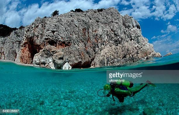 scuba diver and coast split image Italy Medterranean Sea Sardinia