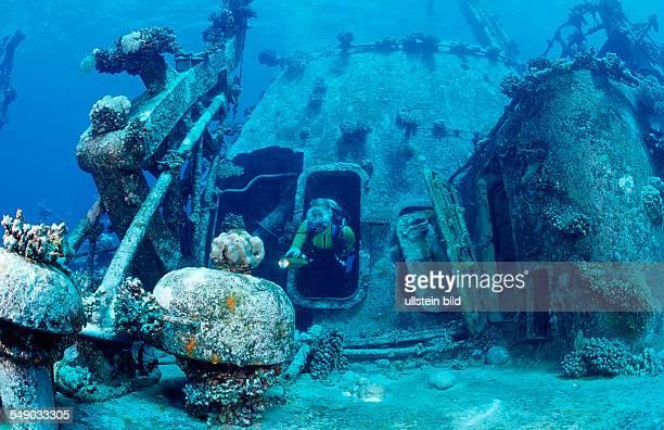 scuba diver explores unknown ship wreck Egypt Zabargad Zabarghad Red Sea