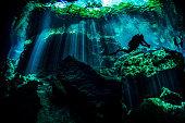 Scuba diver in underwater caves