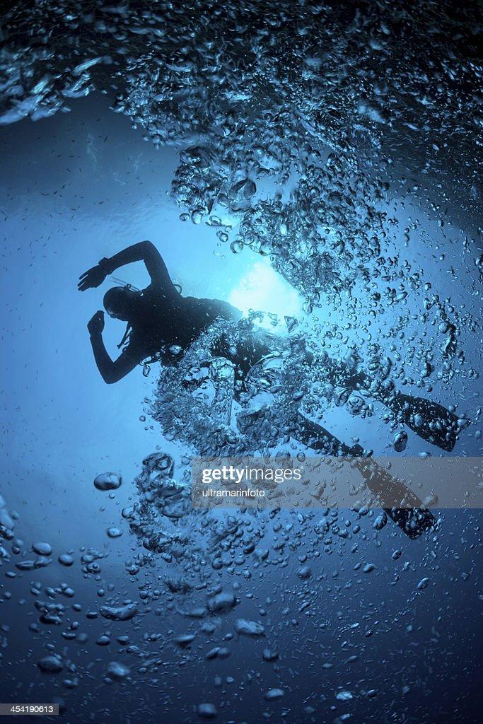 Scuba Diver Silhouette : Stock Photo